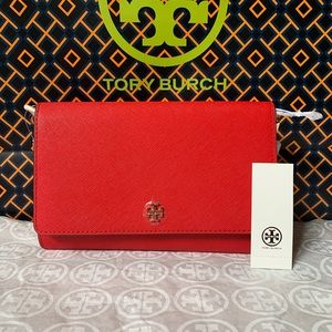 Tory Burch Emerson Chain Wallet Red